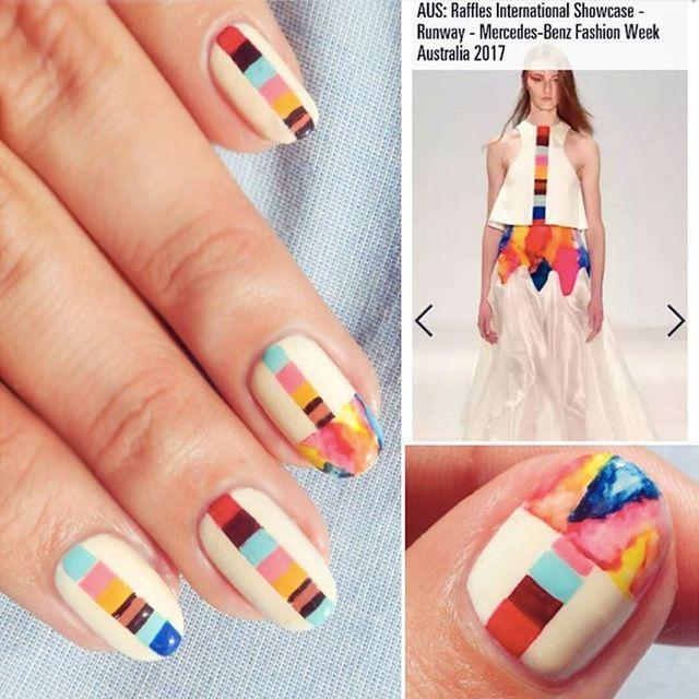 Love this bright nail art idea! Geometric nails, inspired by Raffles ...