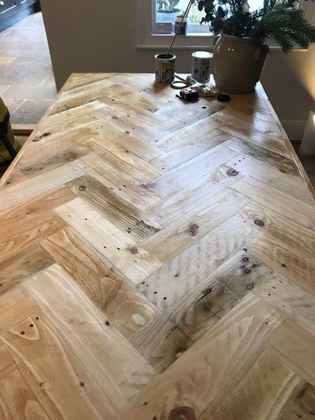 Photo of How to Build a Farmhouse Table with a Pallet Wood Herringbone Top! – Kezzabeth | DIY & Renovation Blog