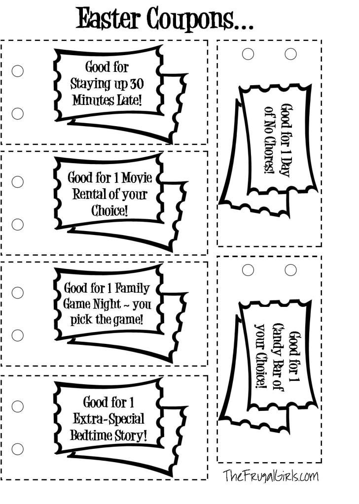 Supercute Easter Coupon Book for Kids - free printable coupons for - diy printable coupons