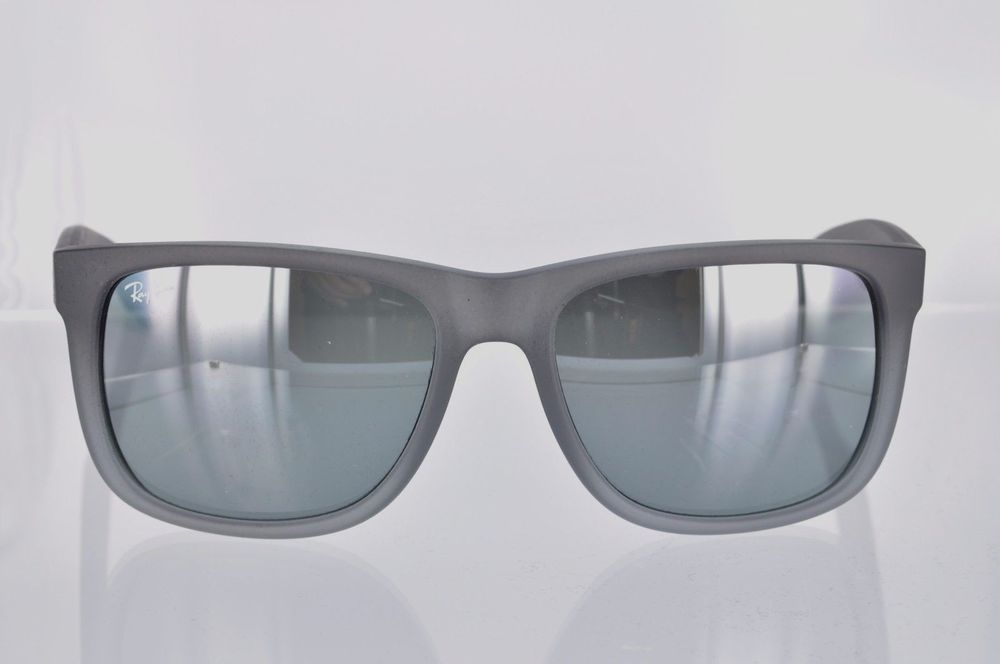 d478ba0fff6d4 Ray Ban Justin RB4165 852 88 - 55 Rubber Gray and Gray Mirror  RayBan   Justin