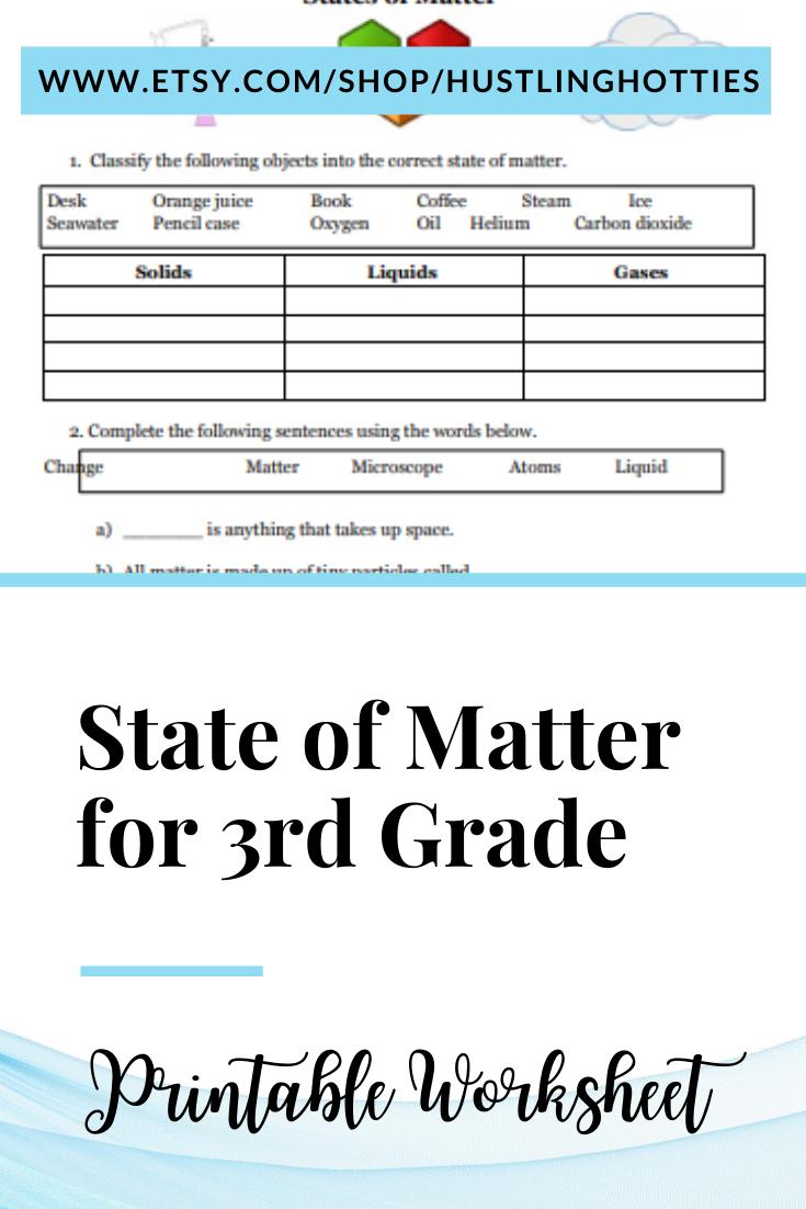 State of Matter for 3rd Grade Printable Reviewer Worksheet   Home-school  Worksheet   States of matter [ 1102 x 735 Pixel ]