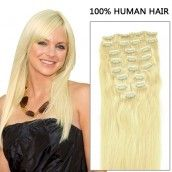24 Inch 10pcs Straight Clip In Human remy Hair Extensions 175g (#24 Sandy Blonde)