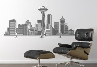seattle skyline wall decal cityscape vinyl sticker 65 decor in