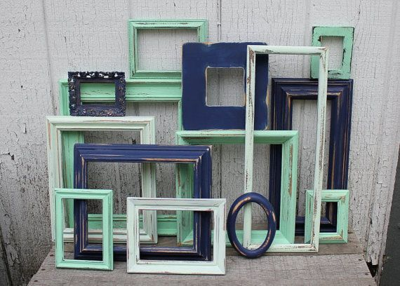 set of 14 upcycled frames in navy blue mint green and light mint green