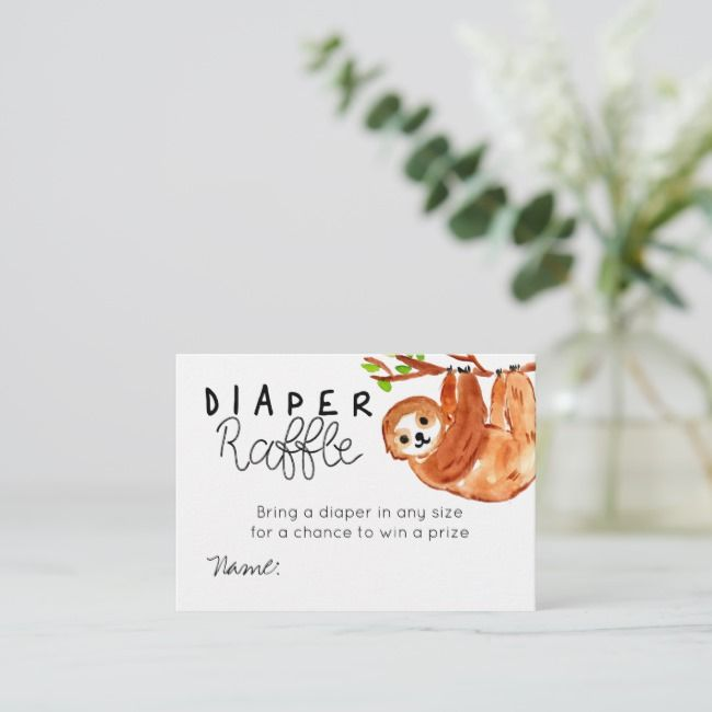 Cute Sloth babyshower diaper raffle card | Zazzle.com #cutesloth