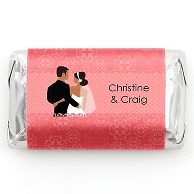 Custom Wedding Couples Coral - Personalized Bridal Shower Mini Candy Bar Wrapper Favors - 20 ct | BigDotOfHappiness.com