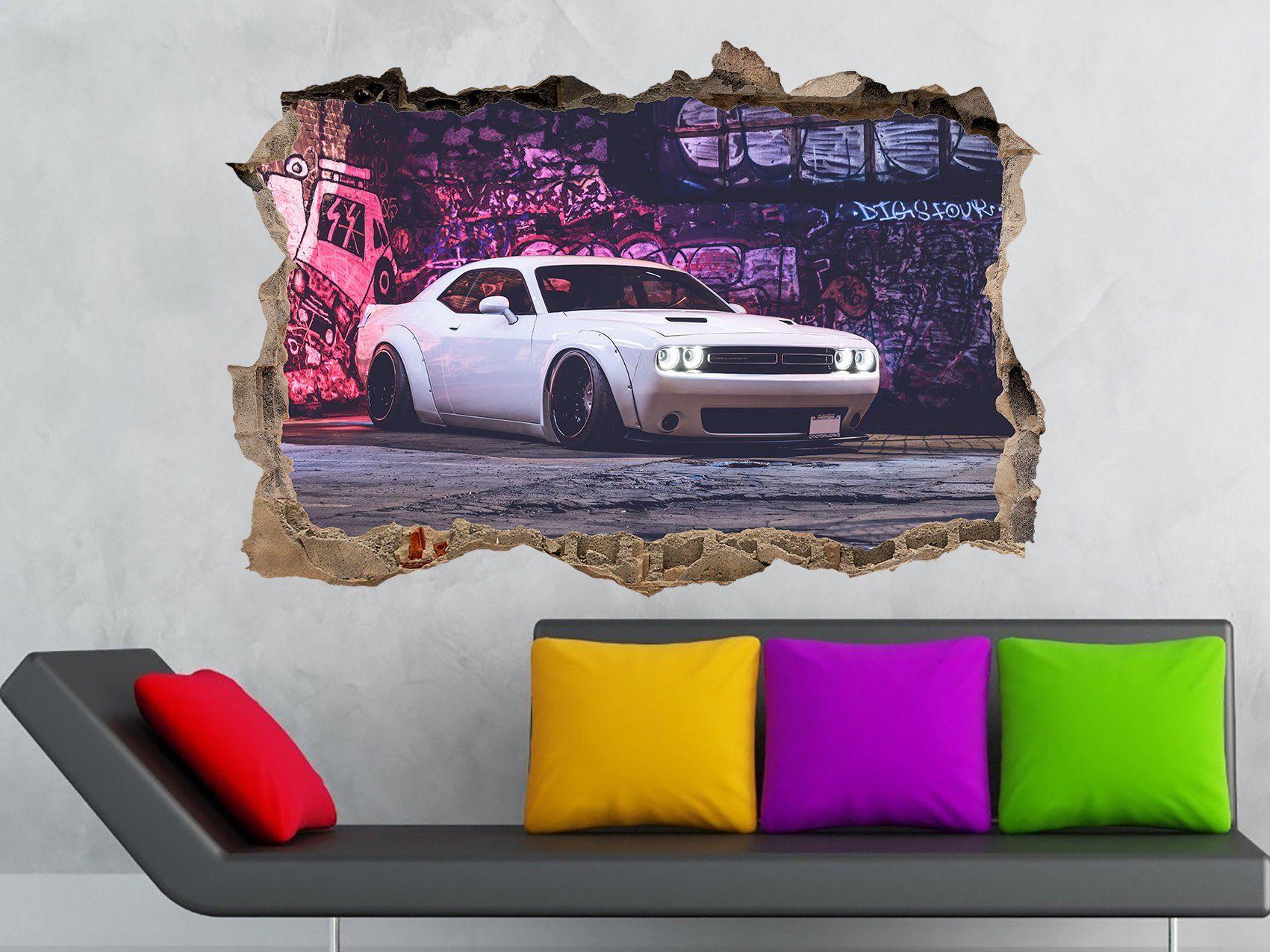 Dodge Challenger Shaker Vinyl Sticker Car Decal Car Sticker 3d Etsy 3d Wall Decals Vinyl Sticker Print Decals