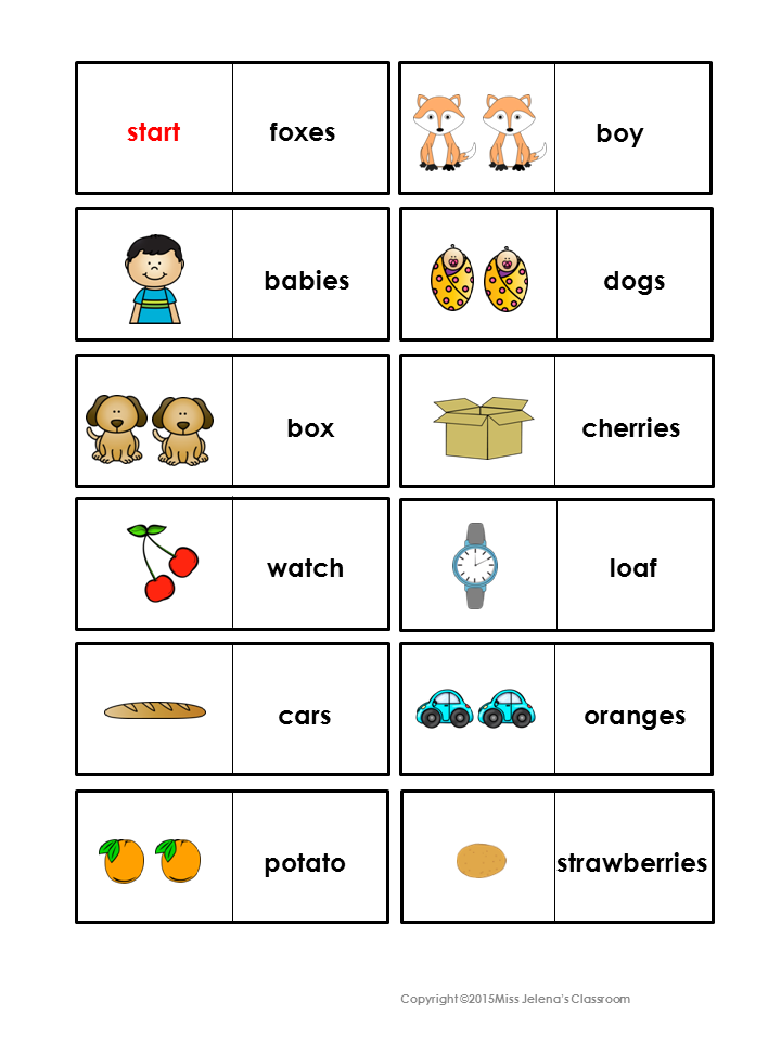 Plural Nouns Domino Game | Reading Roundup | Plural nouns ...