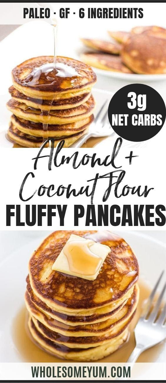 Keto Low Carb Pancakes Recipe with Almond Flour & Coconut Flour (Paleo, Gluten-free)