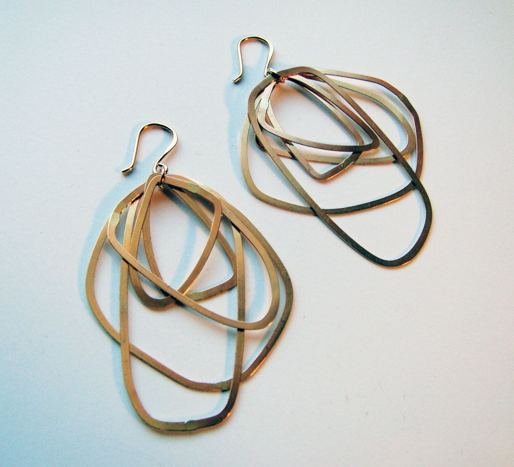 Funky Hoop Earrings 14k Gold Filled Very Unique And Fun