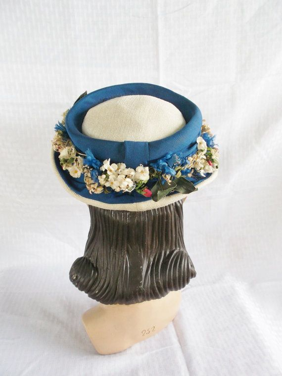 1950s Vintage Blue and White Hat with Flowers by MyVintageHatShop, $53.00