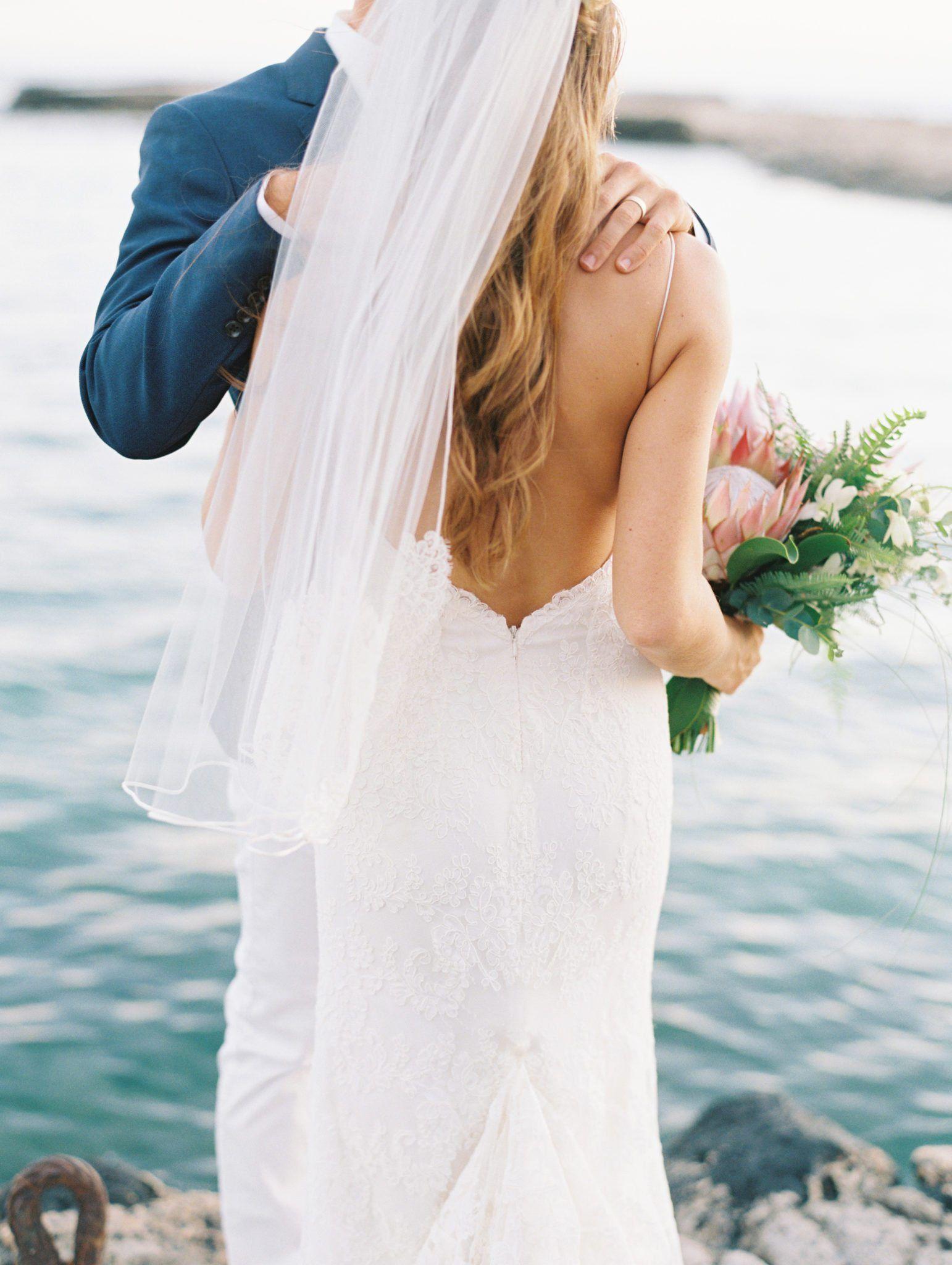 Wedding dress open back lace elegant maui wedding wedding