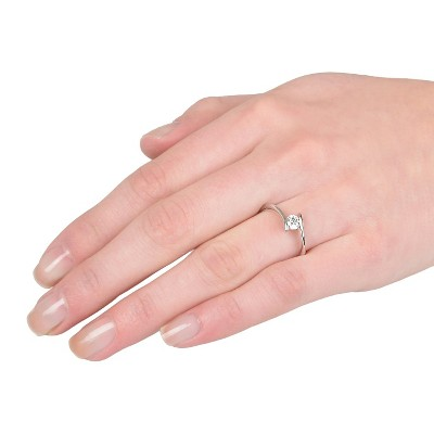 3/8 CT T.W. Round Cut Cubic Zirconia Bezel Set Bridal Style Ring in Sterling Silver (9), Women's, Variation Parent