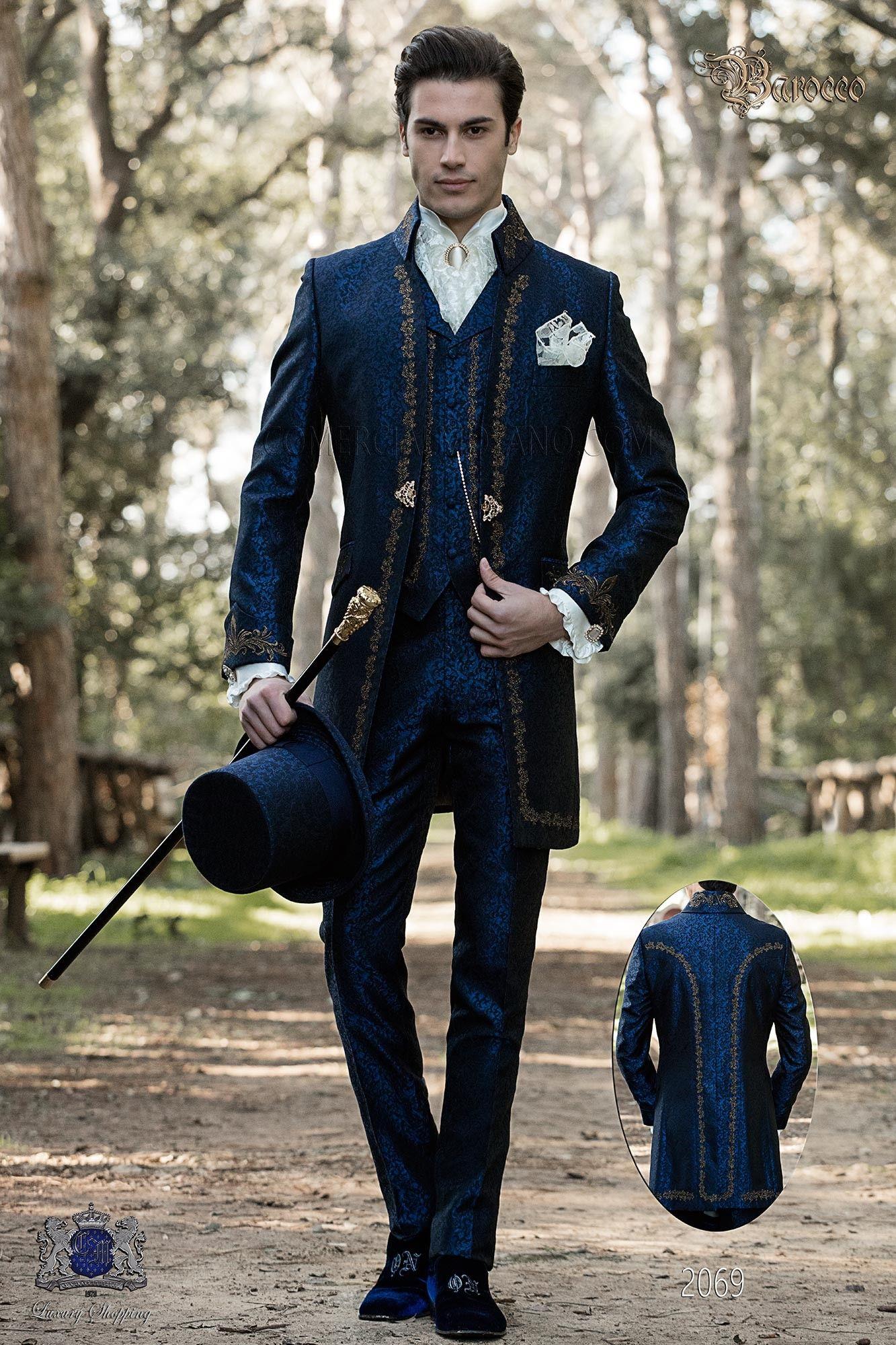 Barocker Brautigam Anzug Vintage Napoleon Kragen Gehrock In Blauem