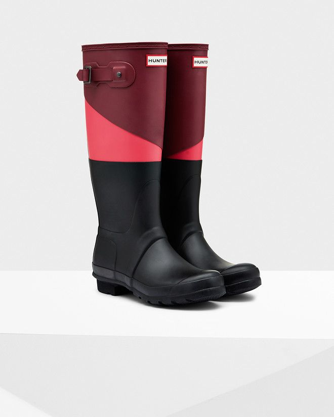 Women's Asymmetric Color Block Rain Boots