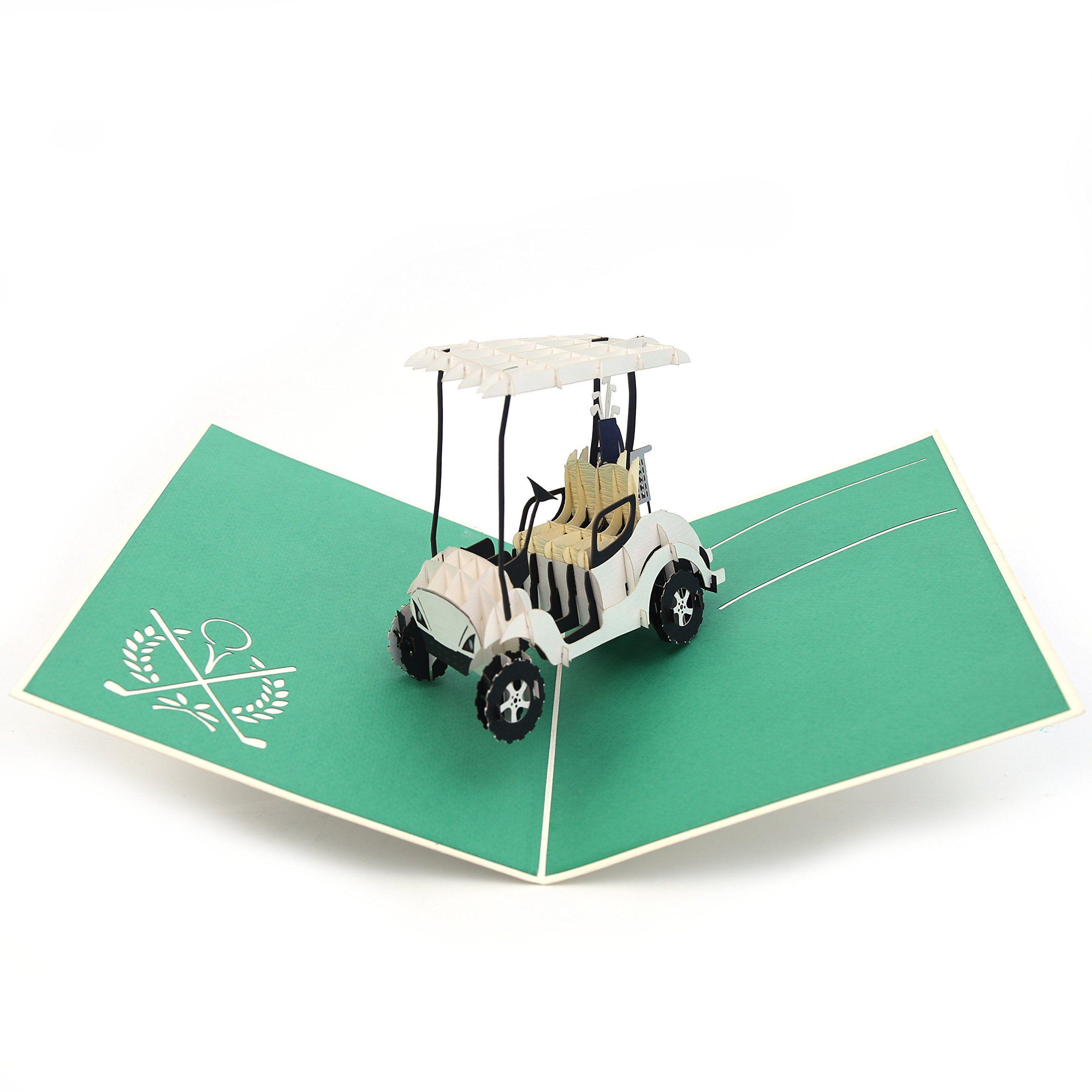 Golf gifts liif golf buggy pop up card 3d golf pop up