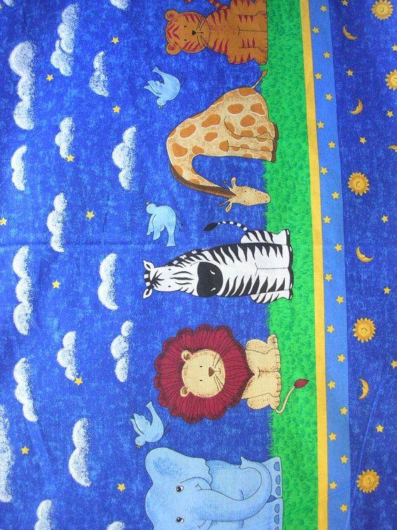 vintage noahs ark themed fabric