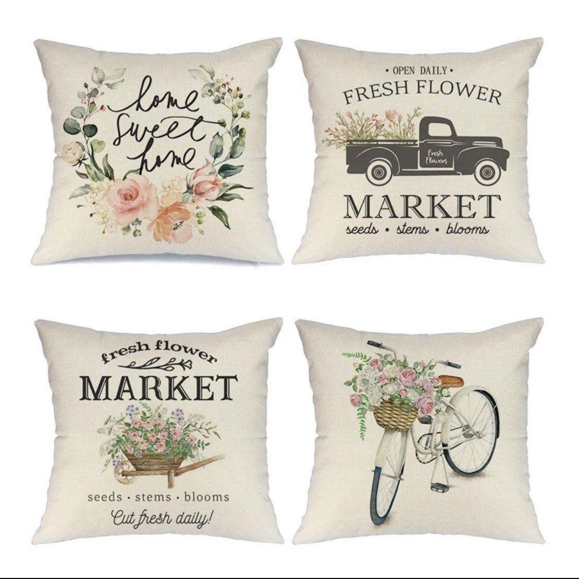 Spring Throw Pillow Covers 18x18in Flower Market Decor Set 4 Etsy Spring Throw Pillows Farmhouse Throw Pillow Spring Pillows