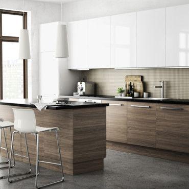 Cuisine blanche/bois/grise Кухни Pinterest Kitchens, Interiors