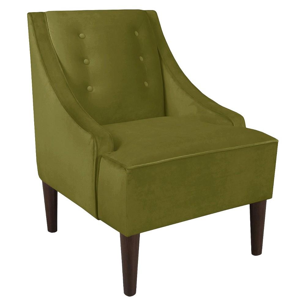 Skyline Custom Upholstered Swoop Arm Chair, Velvet Apple Green