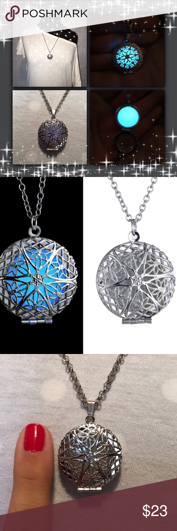 Sold in bundleglow in the dark emulate locket glow white gold