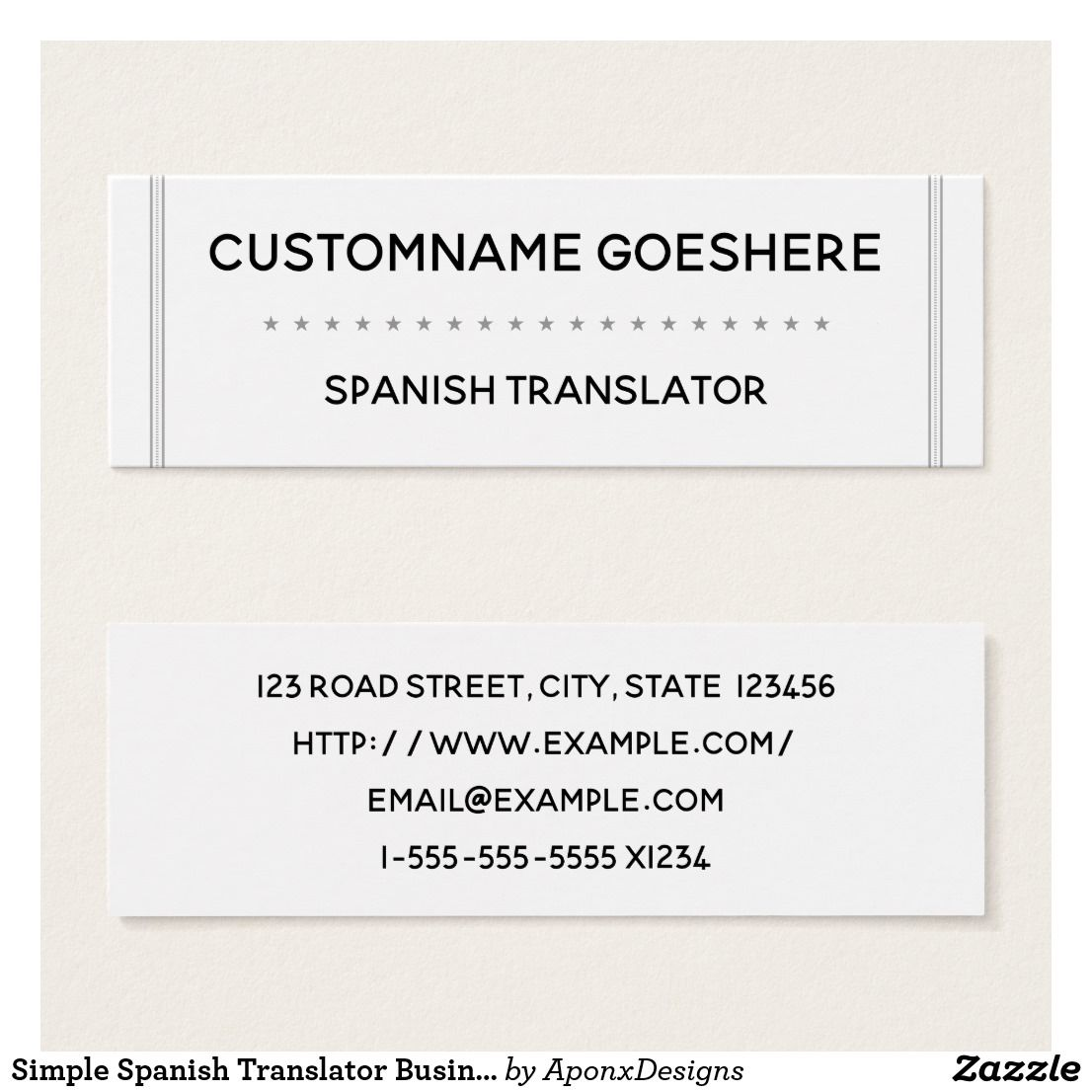 Simple Spanish Translator Business Card