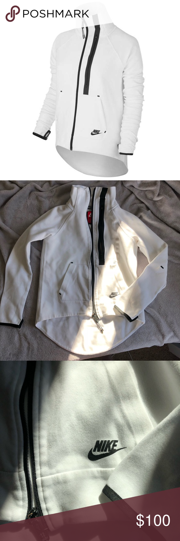 201ba1e0db93 Nike Women s Tech Fleece Moto Cape Jacket In good condition. No flaws or  stains. Features - thermal construction traps body heat for optimum warmth.