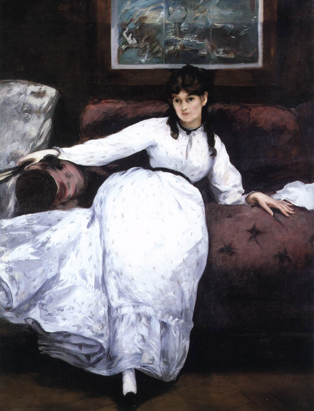 MANET, Edouard Repose - Portrait of Berthe Morisot 1870 Oil on canvas, 148  x 113 cm Museum of Art, Rhode Island School of Design, Providence