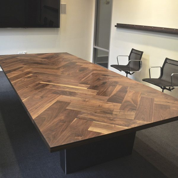 Walnut Herringbone Conference Table Black Rabbit Esszimmer Zimmer Tisch