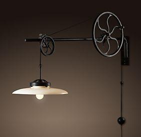 lampe murale avec poulie id es d co pinterest anse lampe murale et murale. Black Bedroom Furniture Sets. Home Design Ideas