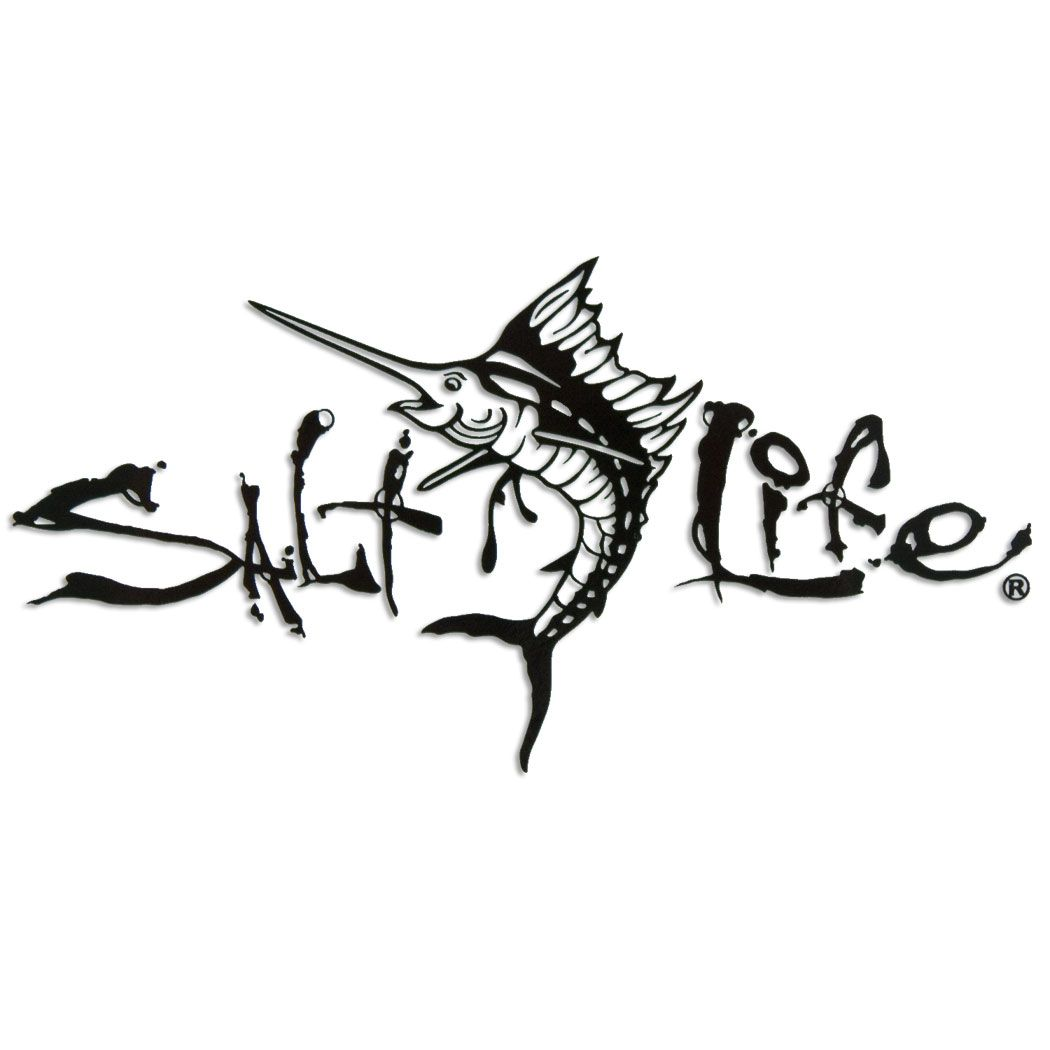 Black 12 salt life signature marlin decal salt life for Free fishing stickers