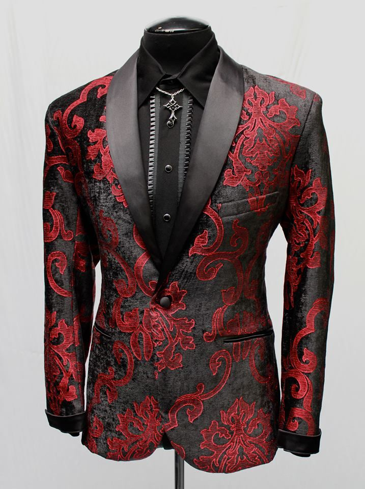 Deluxe Smoking Jacket Red Black Velvet Brocade Mens