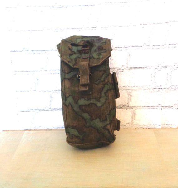 Vintage genuine British Army surplus pouch belt clip on camouflage