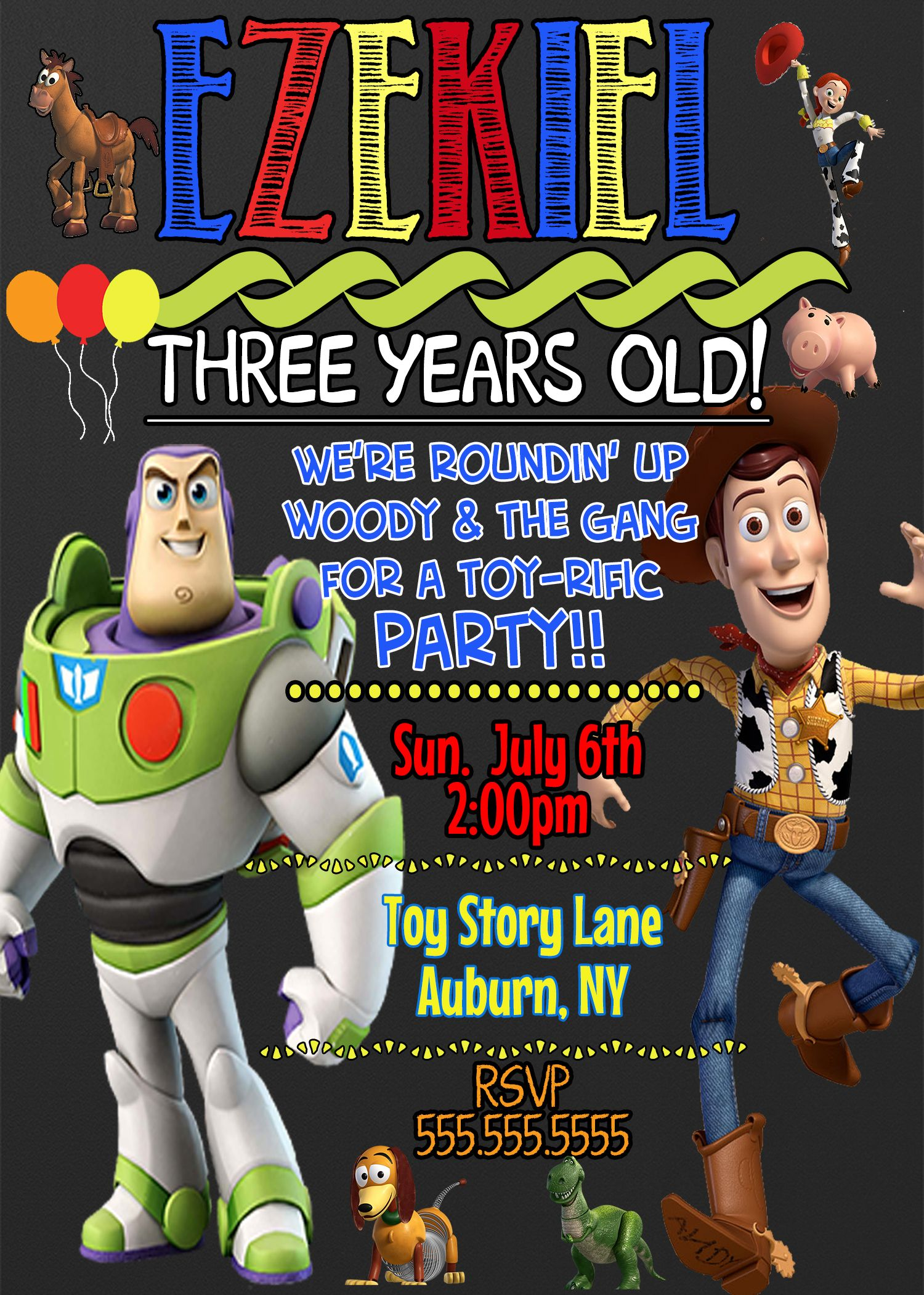 Buzz and Woody Birthday Party Invitations Toy Story Themed | Toy ...