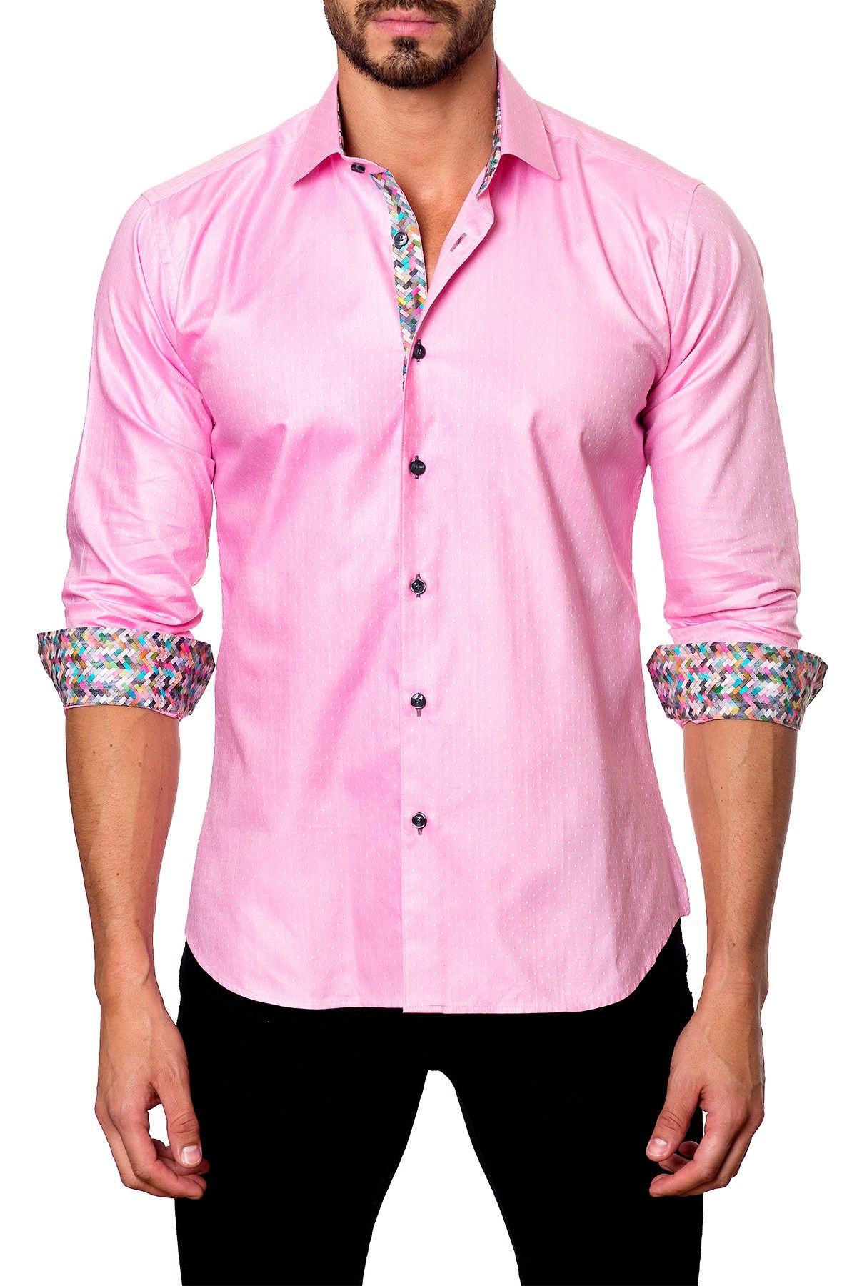 Textured dot long sleeve trim fit shirt products