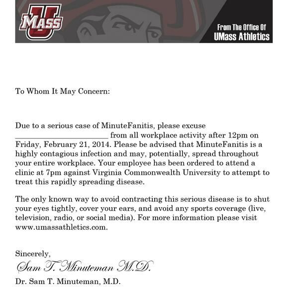 UMass Athletics on Game, Against and The ou0027jays - dismissal letter