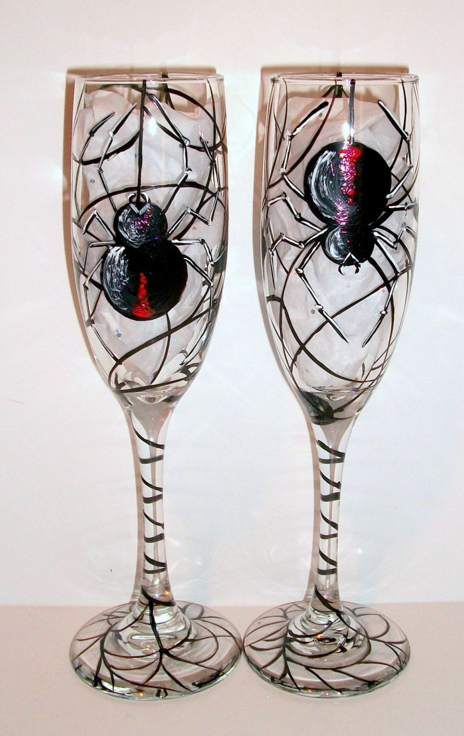 Black Widow Spiders Web Halloween Hand Painted Champagne