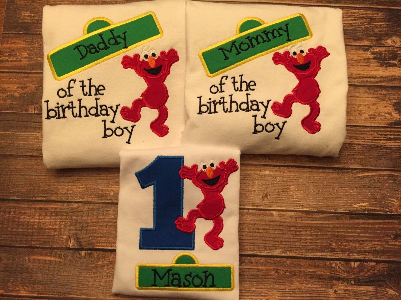 Boys elmo sesame street first birthday shirt with matching