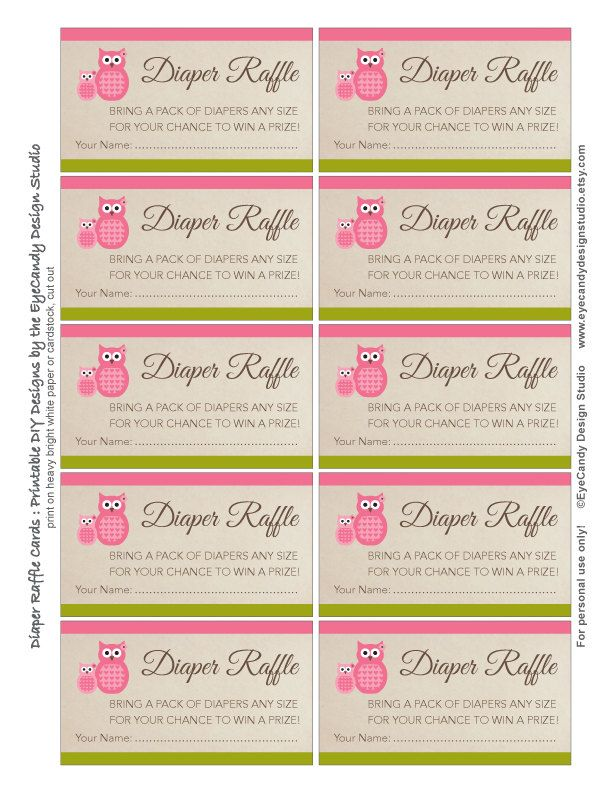 Printable Owl Diaper Raffle Tickets \/ Diaper Raffle Cards - Owl - printable raffle ticket template free