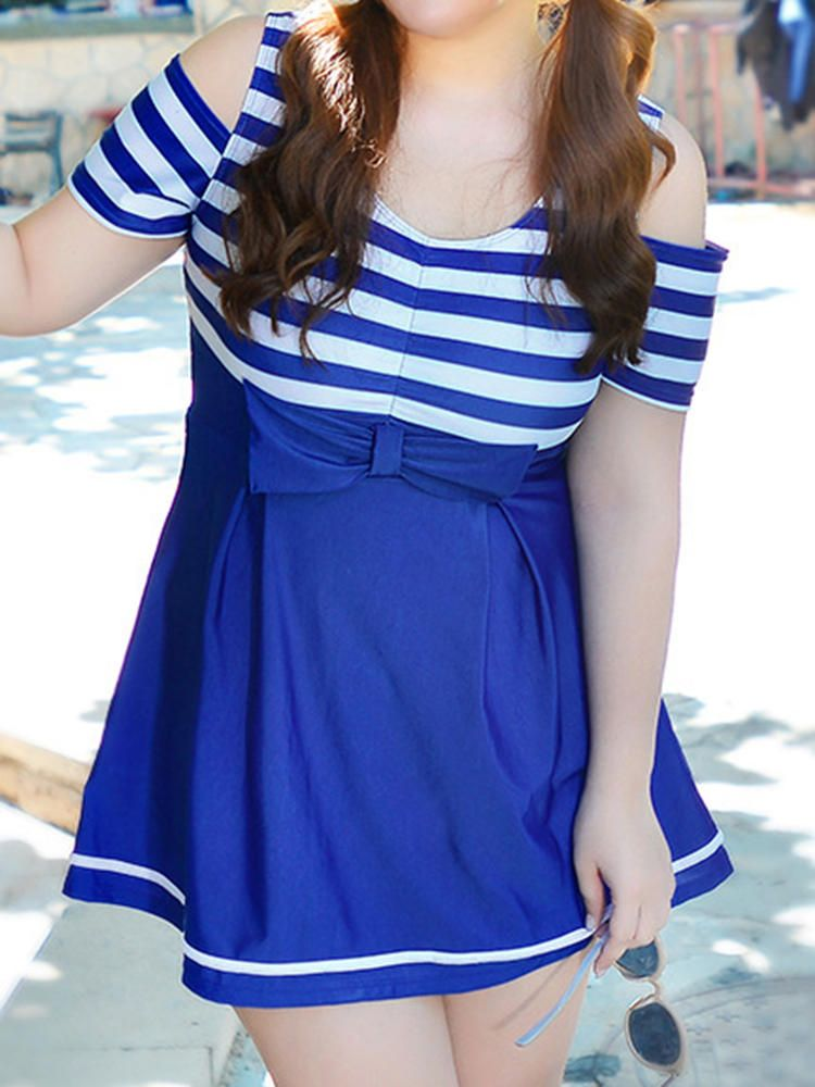 60259f4083a Plus Size Stripe Bowknot Beauty Back Wireless Hollow Out One Piece  Swimdresses
