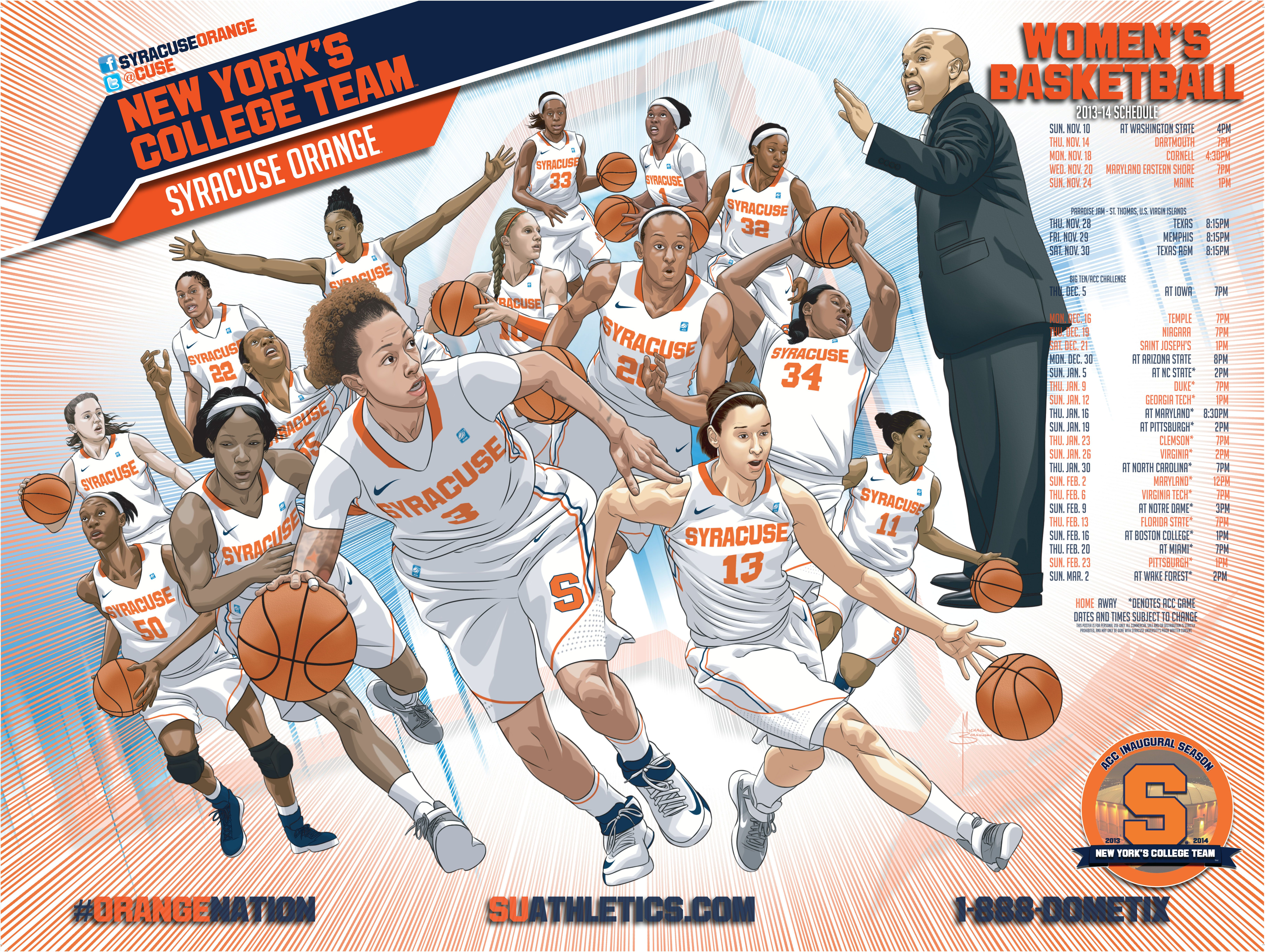 Syracuse Women S Basketball 2013 14 Illustrated By Mike