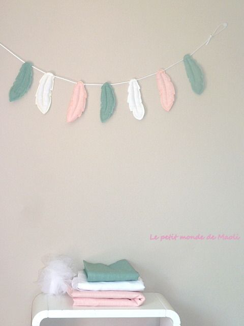 Guirlande De Plumes En Tissu Lin Vert Rose Blanc Decoration Pour