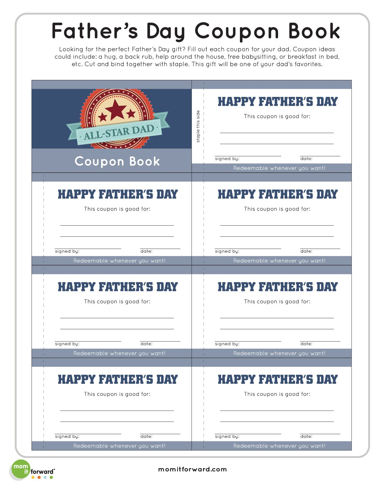 Fathers Day Coupon Book Printable Special Times Of The Year