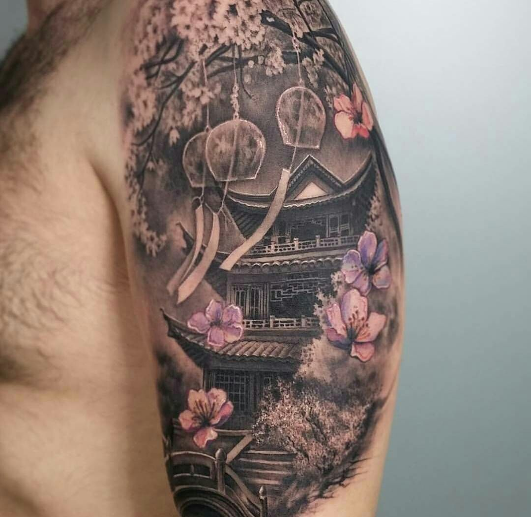 Amazing Japanese Temple With Cherry Blosoms Japanese Tattoo Sleeve Tattoos Japanese Tattoo Designs