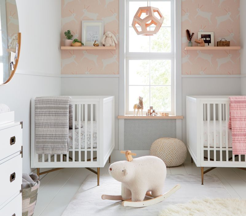 Chasing Paper Pink Leaping Bunnies Removable Wallpaper | Crate and Barrel