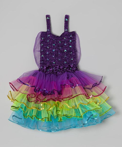 The Fancy Fairy Awards are being held in Fairy Tale City, and every little contender needs to look her best to attend. This whimsical frock is showered in colors and boasts a gathered bodice, tiered skirt and tons of sequins. Polyester / plastic / sequinsHand washImported