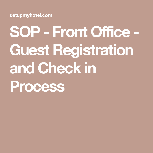 Sop  Front Office  Guest Registration And Check In Process