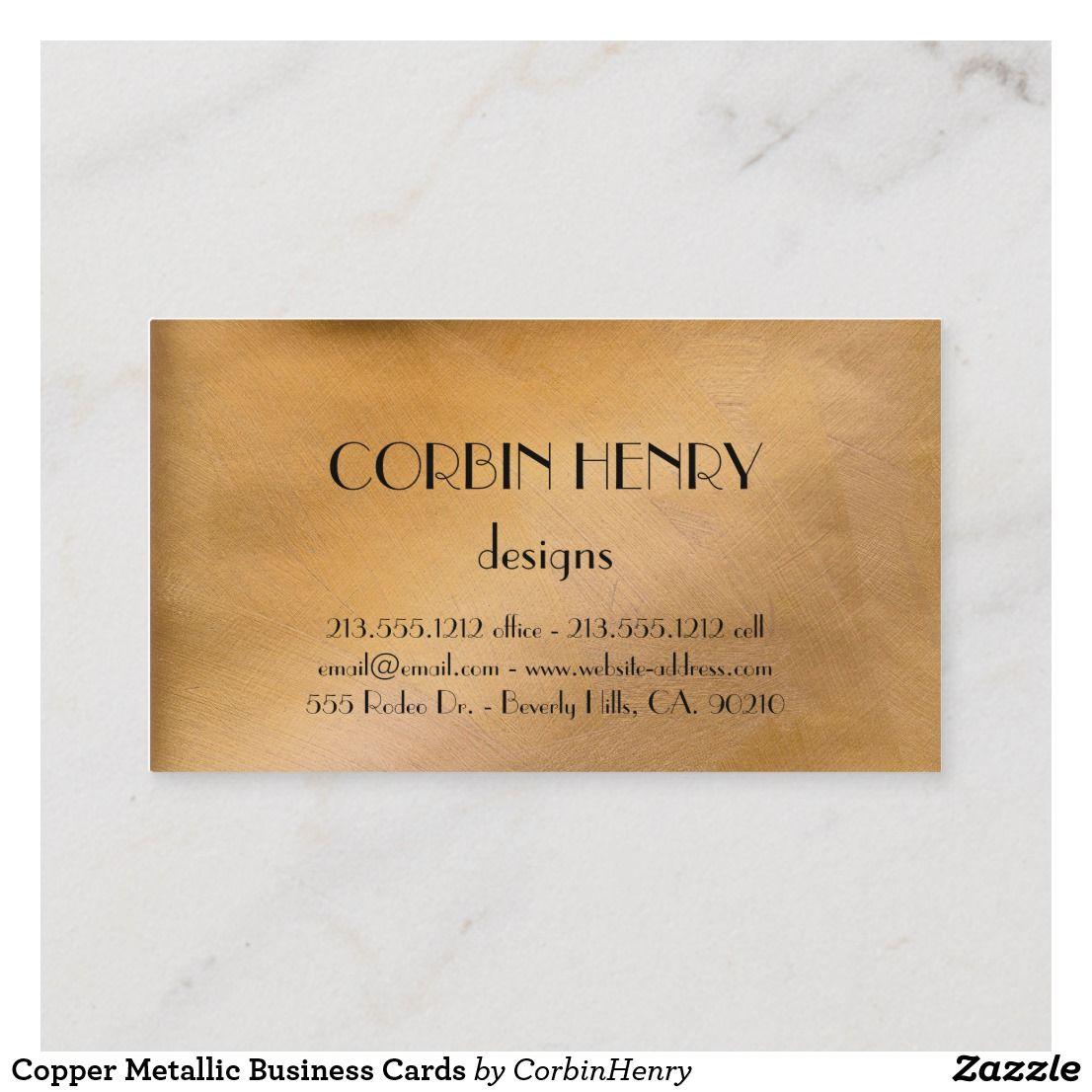 Copper Metallic Business Cards Zazzle Com Business Pens Classy Business Cards Business Cards