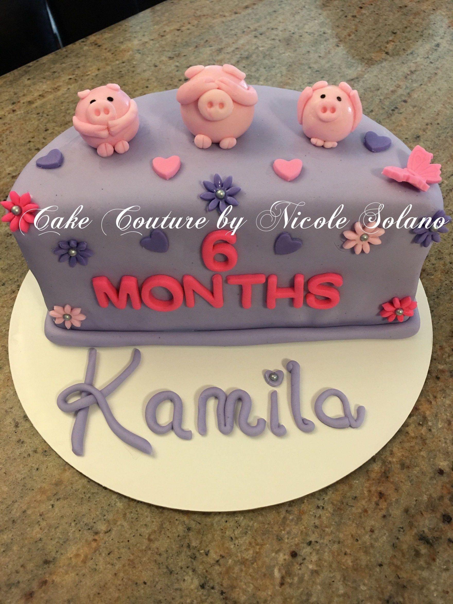 Cool 6 Month Birthday Cake 6 Month Half Cake Three Little Pigs Cake Funny Birthday Cards Online Drosicarndamsfinfo