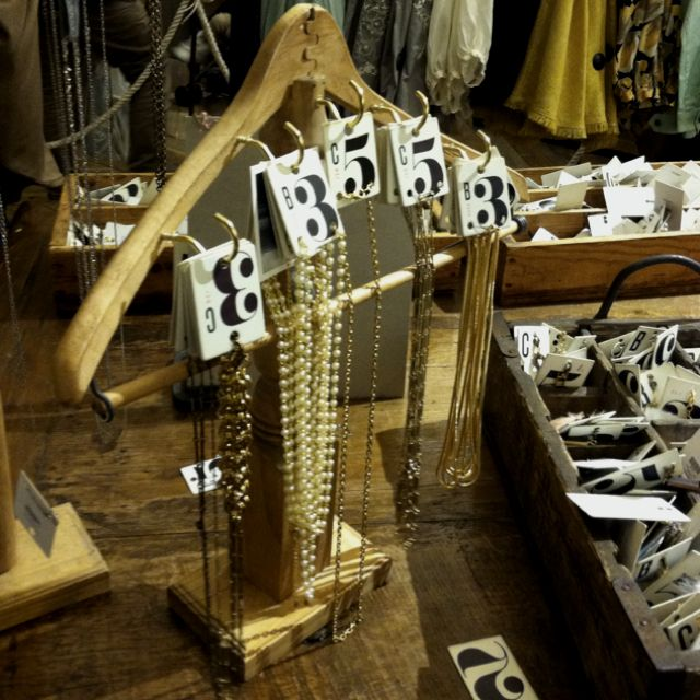 Hanger jewelry display at Anthropologie